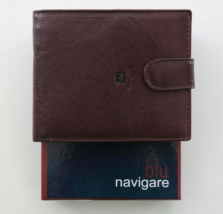 Kožená pánská peněženka Navigare hnědá s upínkou