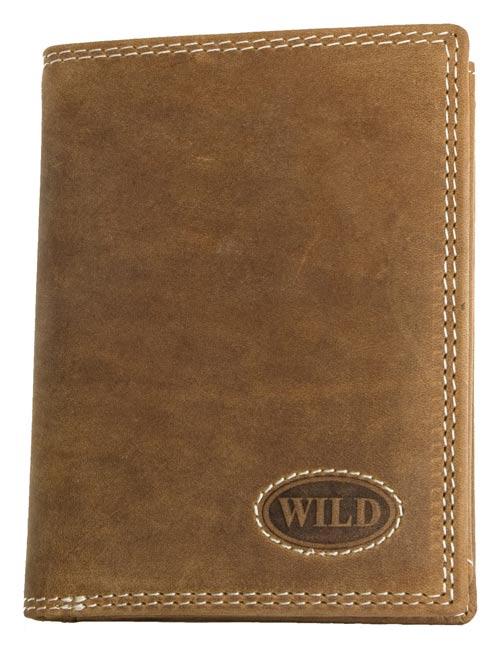 Kožená pánská peněženka Wild hnědá na výšku