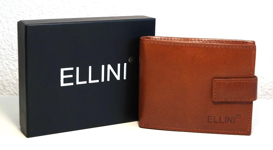 Kožená pánská peněženka ELLINI světlehnědá malá s upínkou