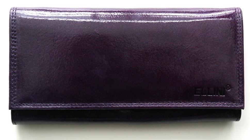 Kožená dámská peněženka ELLINI fialová lesklá