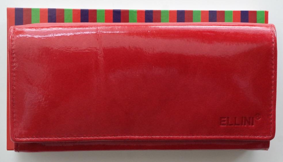 Kožená dámská peněženka ELLINI červená lesklá