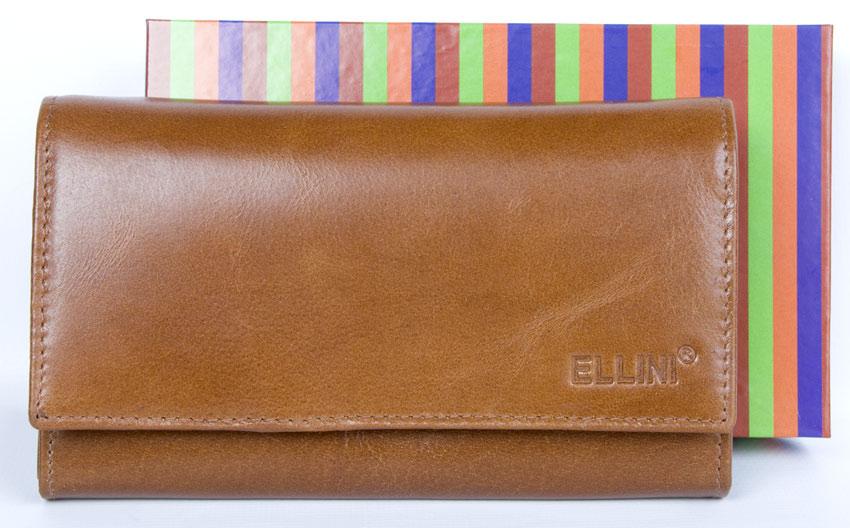 Kožená dámská peněženka ELLINI tmavěhnědá (ADE-21-063M)