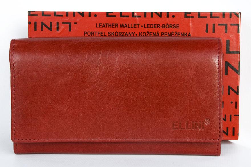 Kožená dámská peněženka ELLINI červená