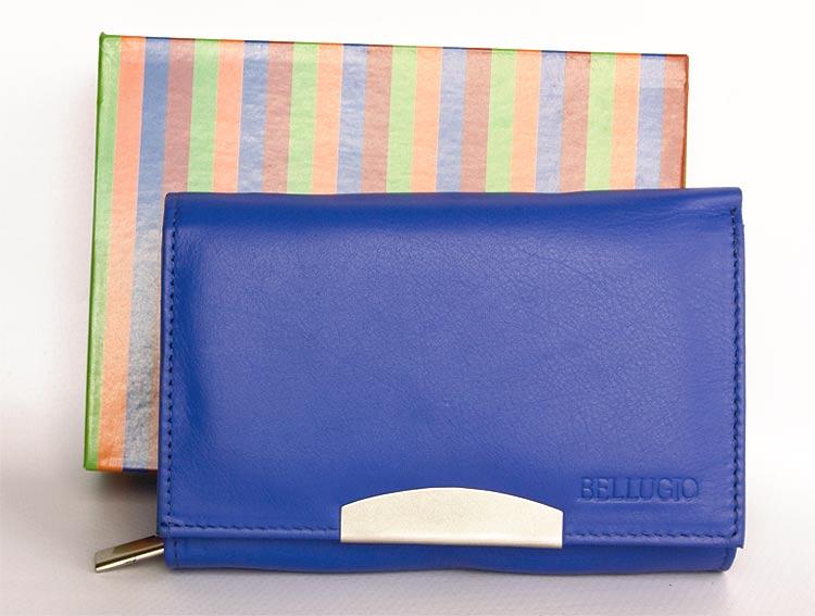 Kožená dámská peněženka BELLUGIO modrá