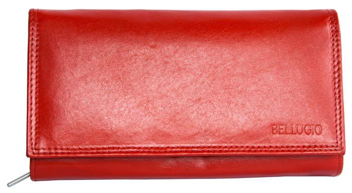Kožená dámská peněženka BELLUGIO červená podélná