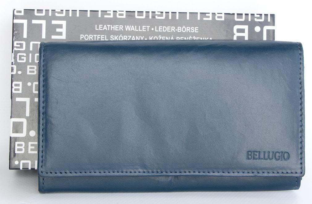 Kožená dámská peněženka BELLUGIO šedomodrá