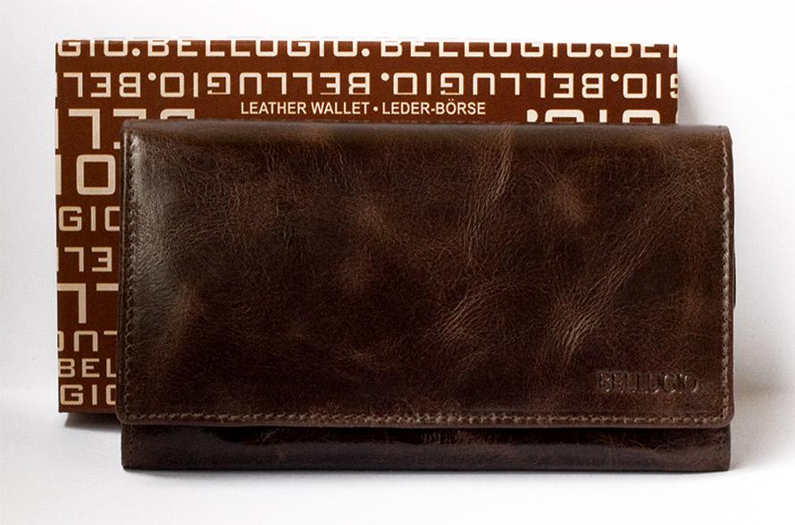 Dámská kožená peněženka ELLINI tmavěhnědá