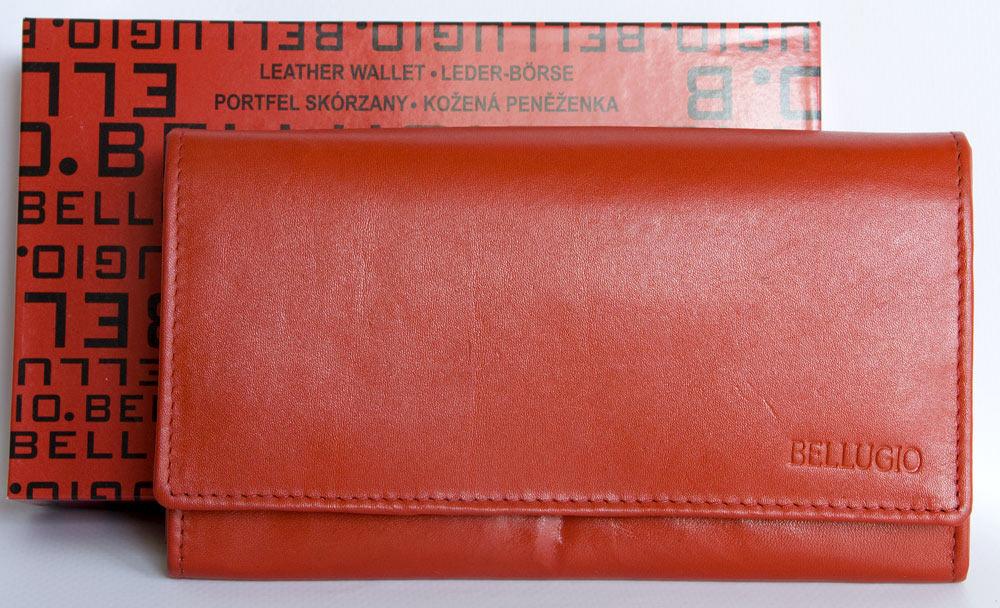 Kožená dámská kožená peněženka BELLUGIO červená