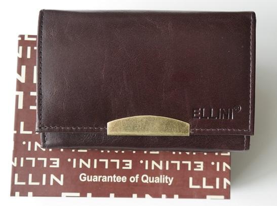Kožená dámská peněženka ELLINI tmavěhnědá
