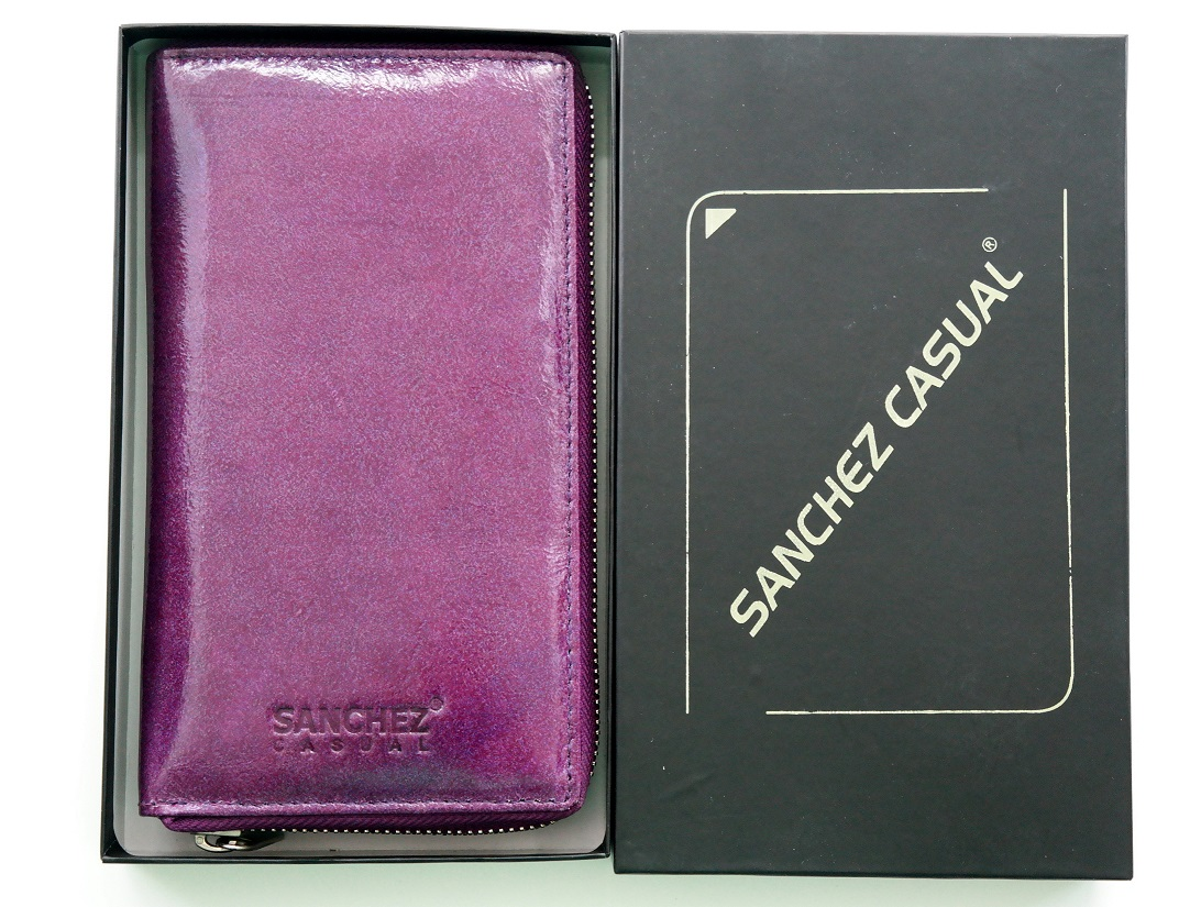 Kožená dámská peněženka SANCHEZ Casual fialová celozipová