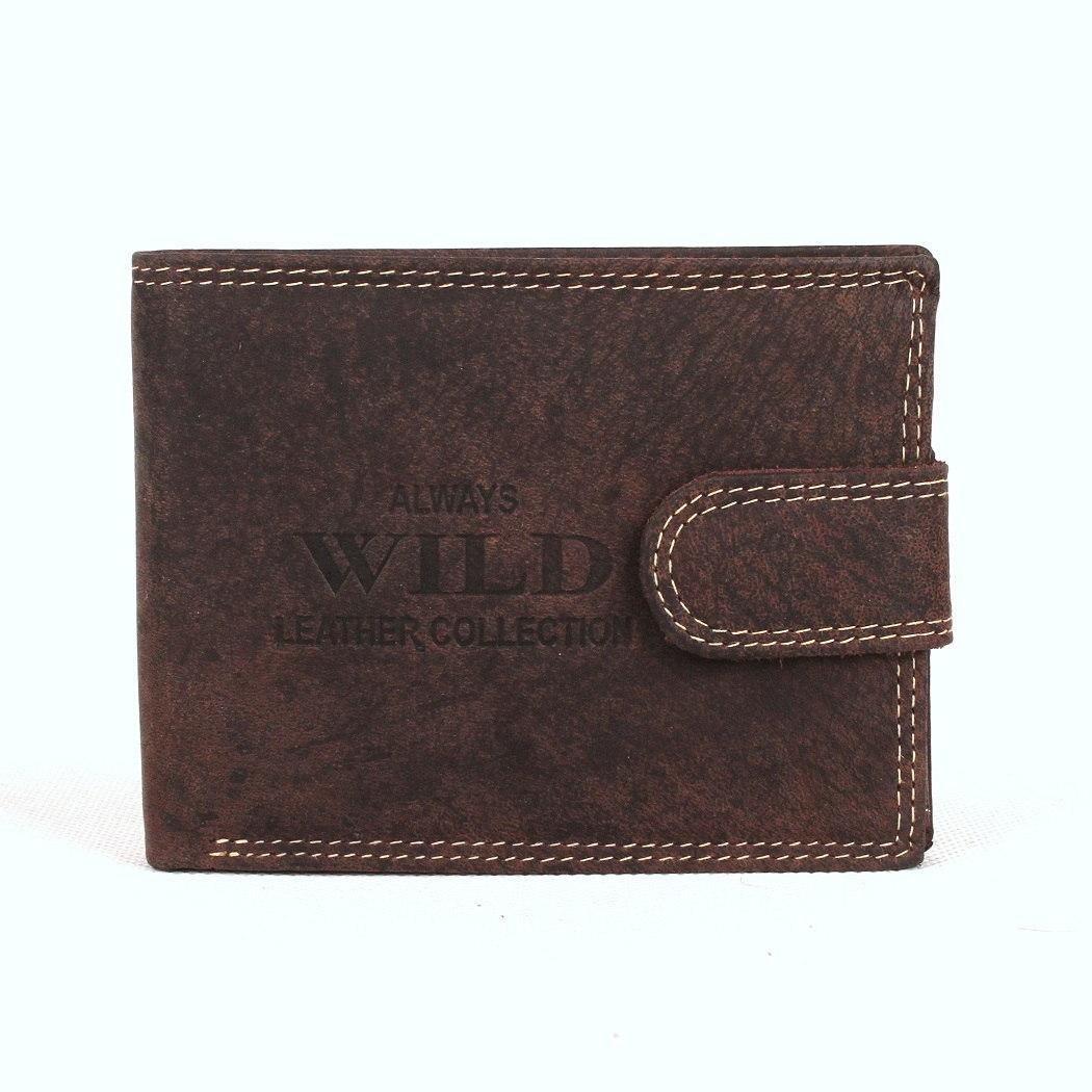 Kožená pánská peněženka Always Wild RMH-01L tmavěhnědá | KabelkyproVas.cz