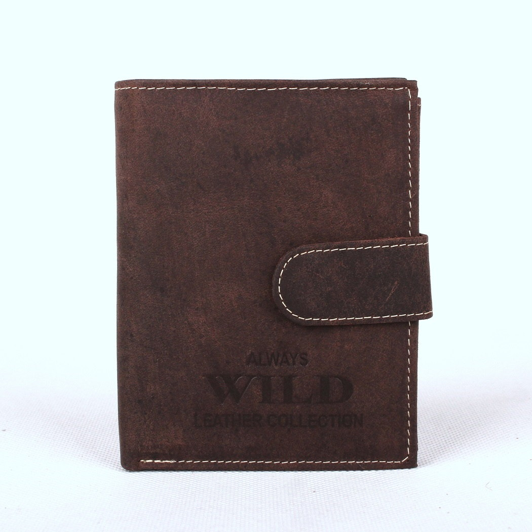 Kožená pánská peněženka Always Wild RMH-04L tmavěhnědá s upínkou | KabelkyproVas.cz