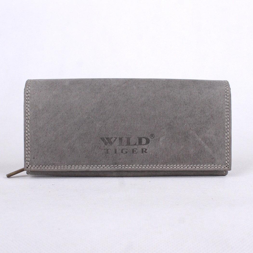 Kožená dámská peněženka Wild Tiger XL šedá | KabelkyproVas.cz