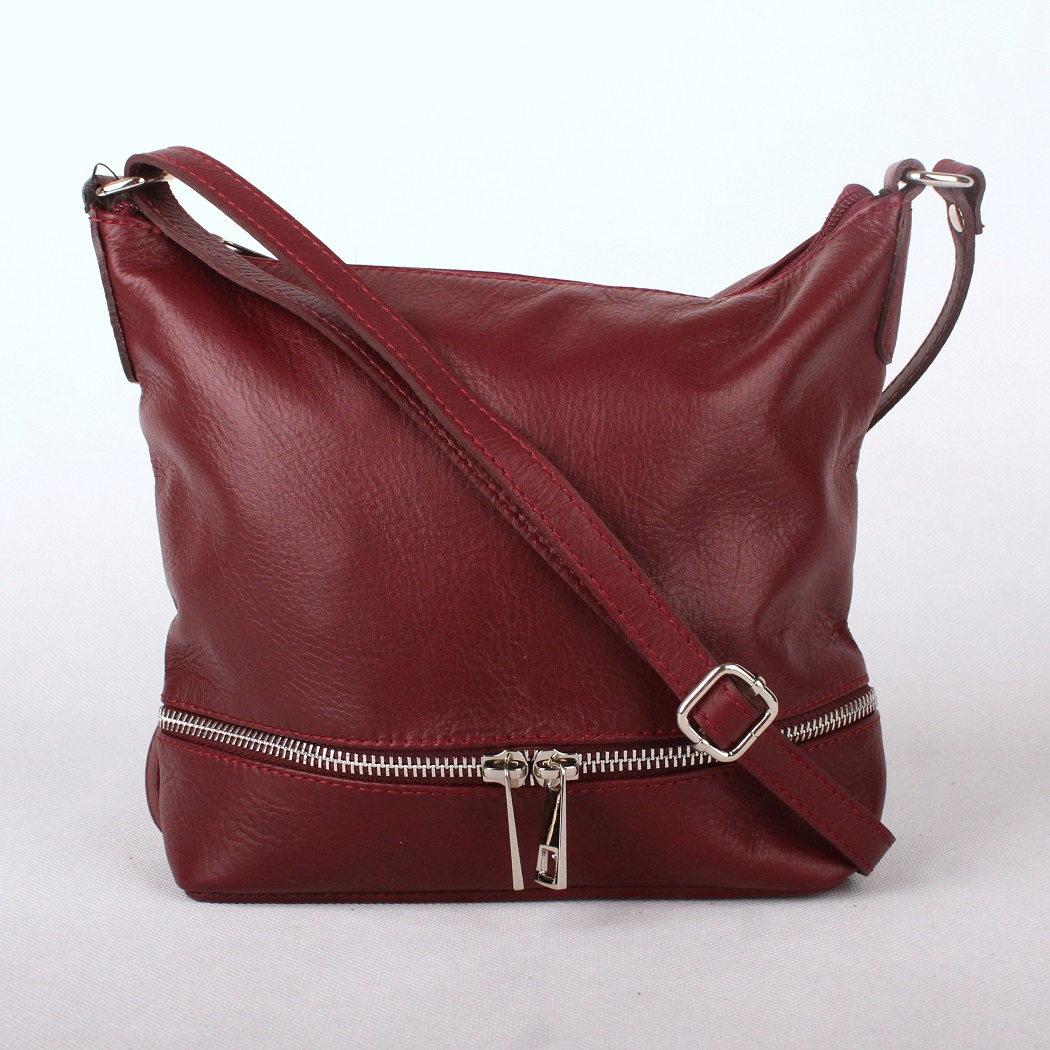 Dámská kožená kabelka crossbody no. 192 tmavěčervená (burgundy) | KabelkyproVas.cz