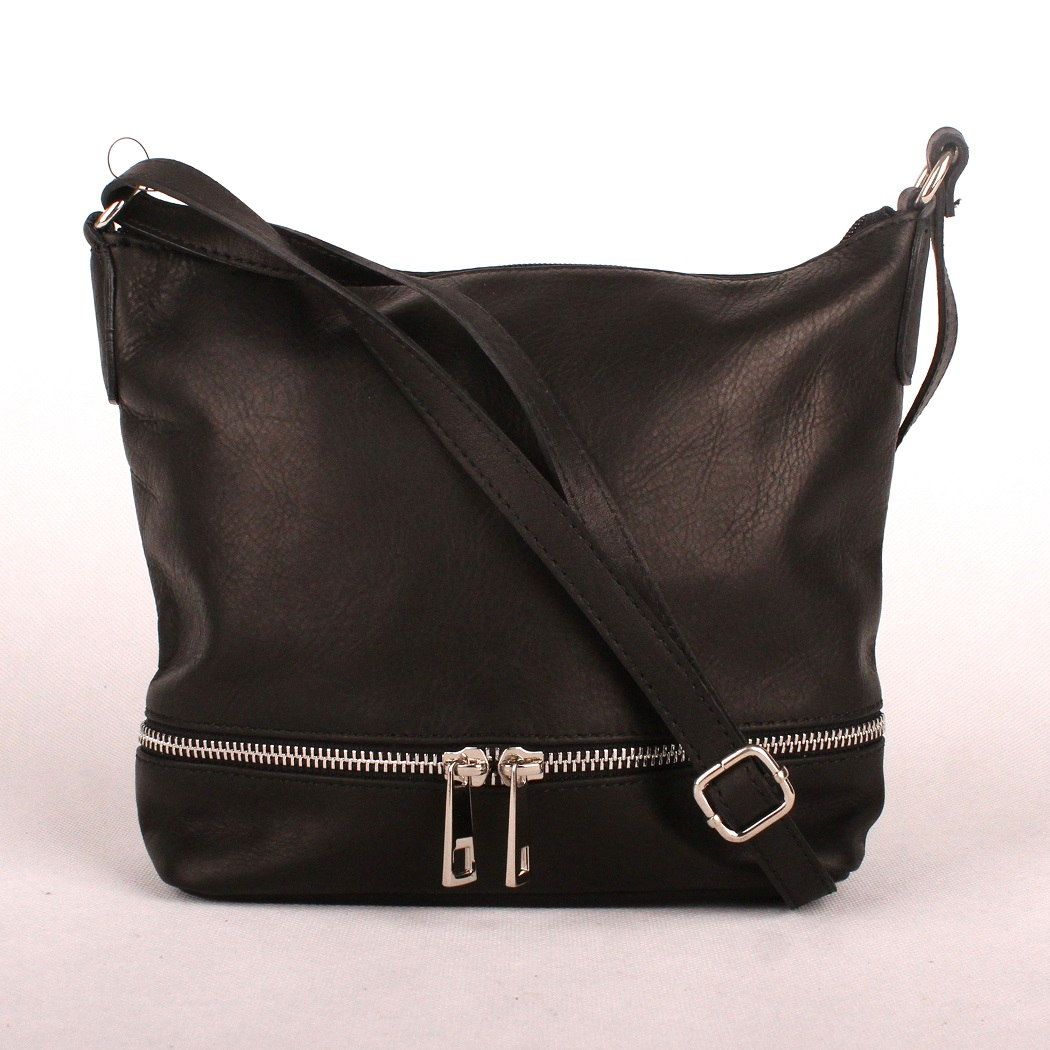 Dámská kožená kabelka crossbody no. 192 černá | KabelkyproVas.cz
