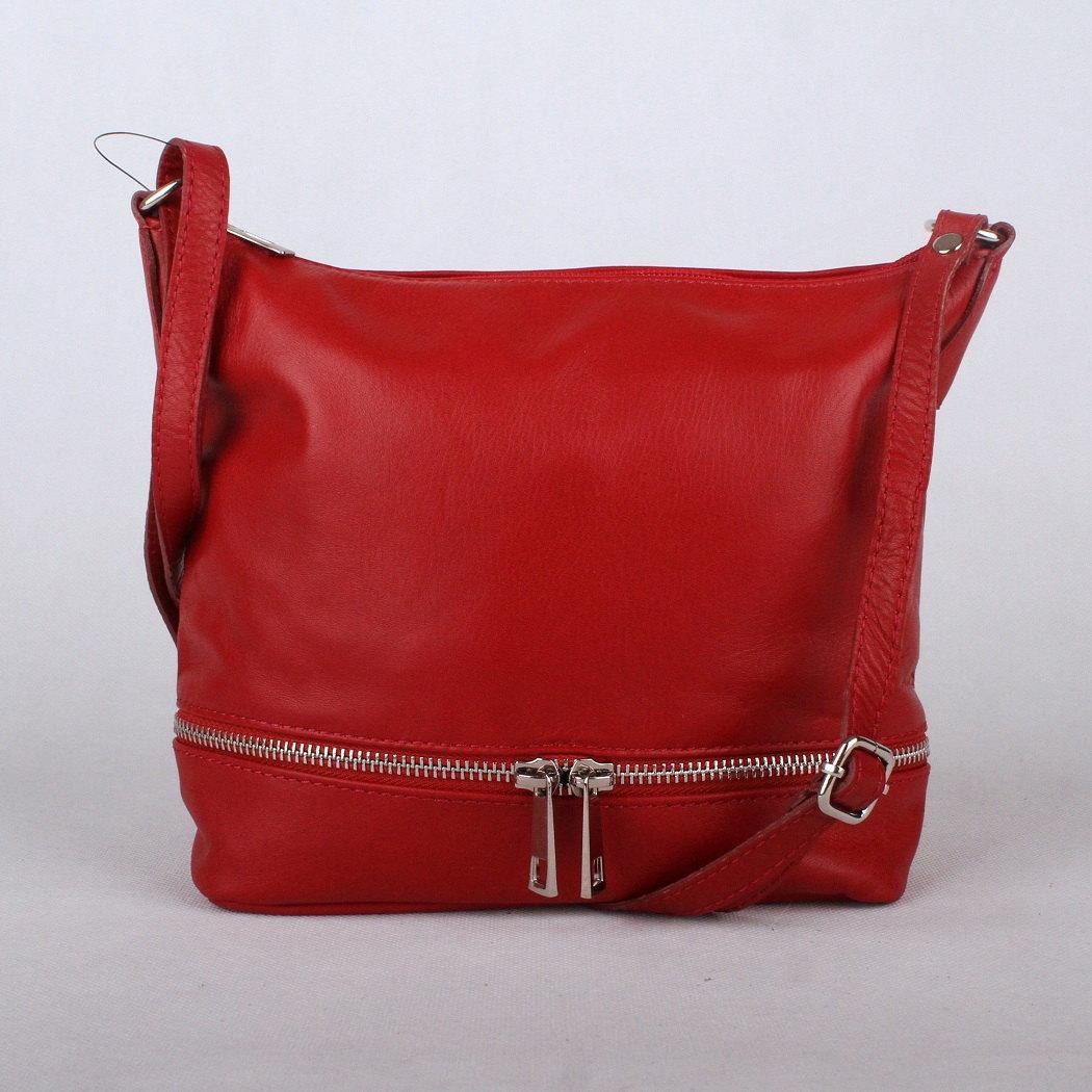 6a9a03ecb8 Dámská kožená kabelka crossbody no. 192 červená