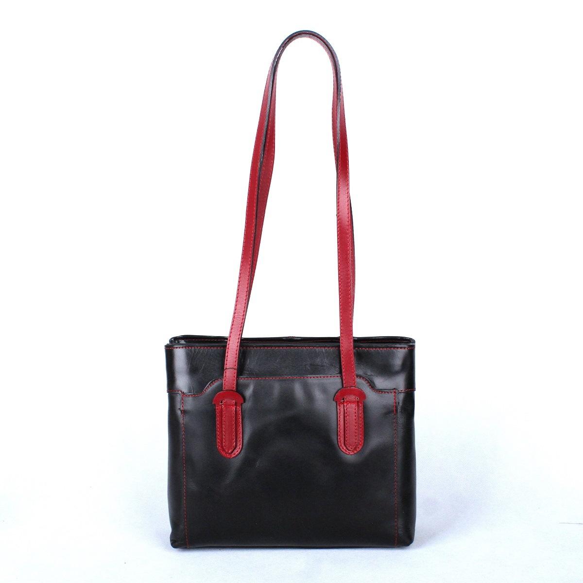 Dámská kožená kabelka na rameno no. 99 černo-tmavěčervená