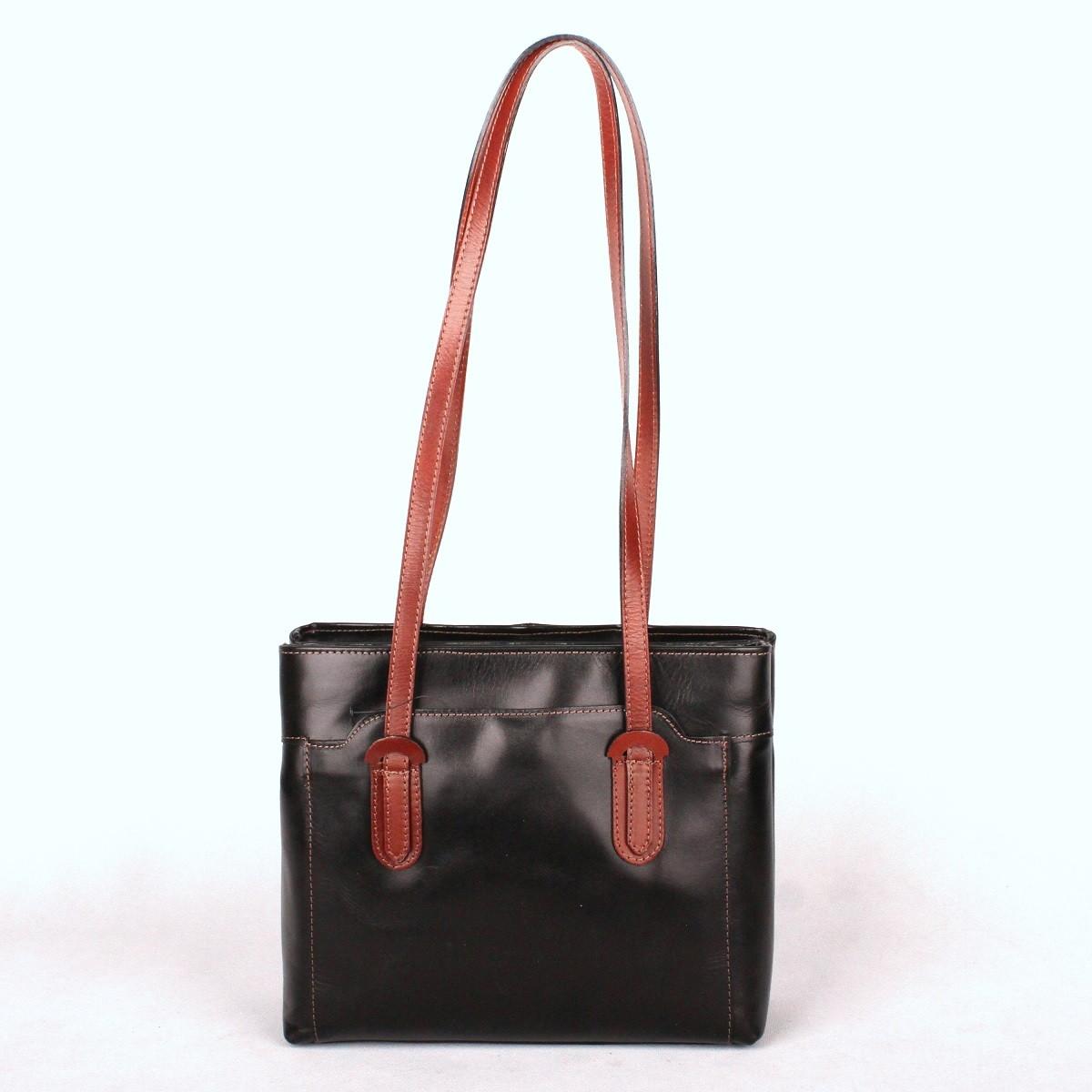 Dámská kožená kabelka na rameno no. 99 černo-tmavěhnědá | KabelkyproVas,cz