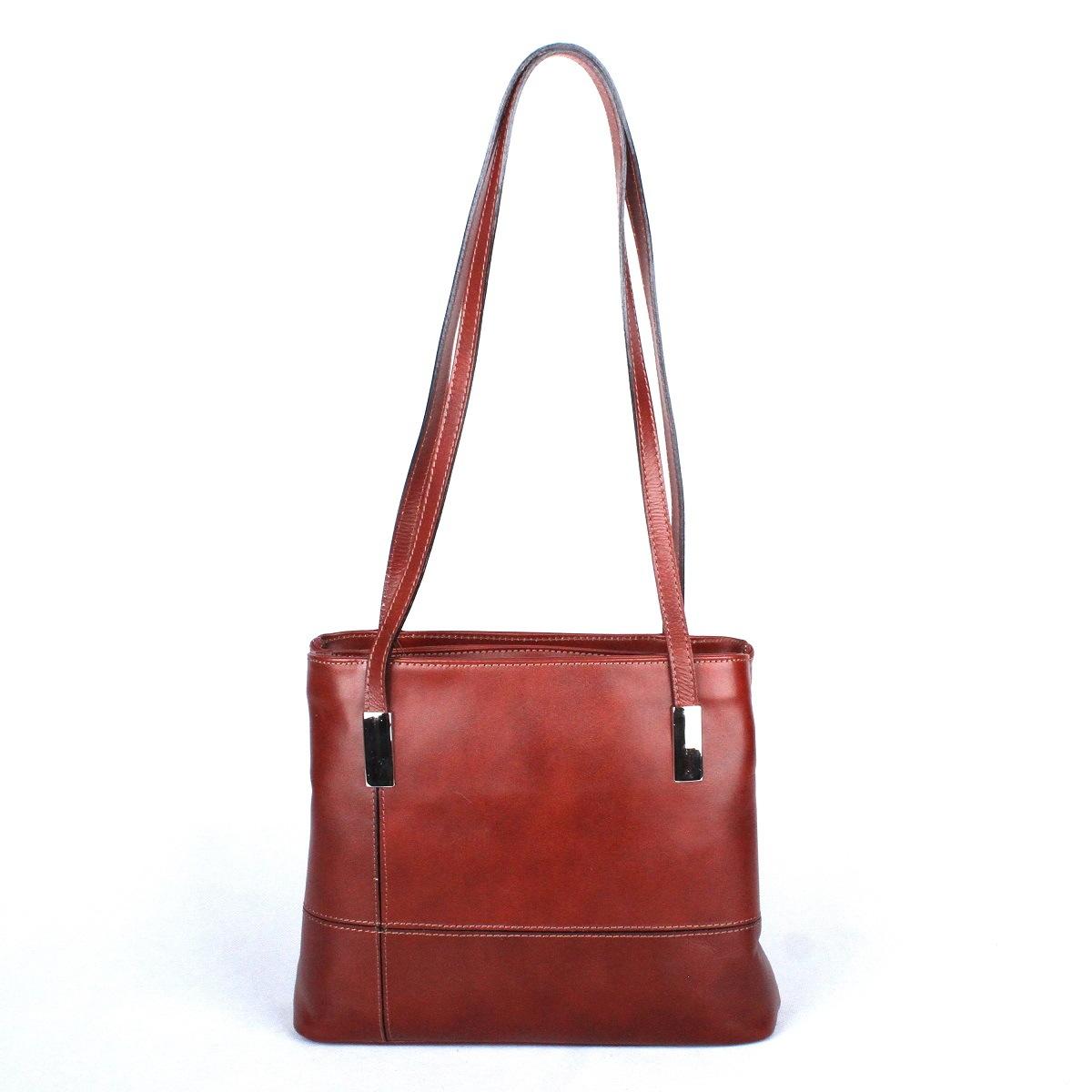 Dámská kožená kabelka na rameno no. 22 hnědá | KabelkyproVas,cz