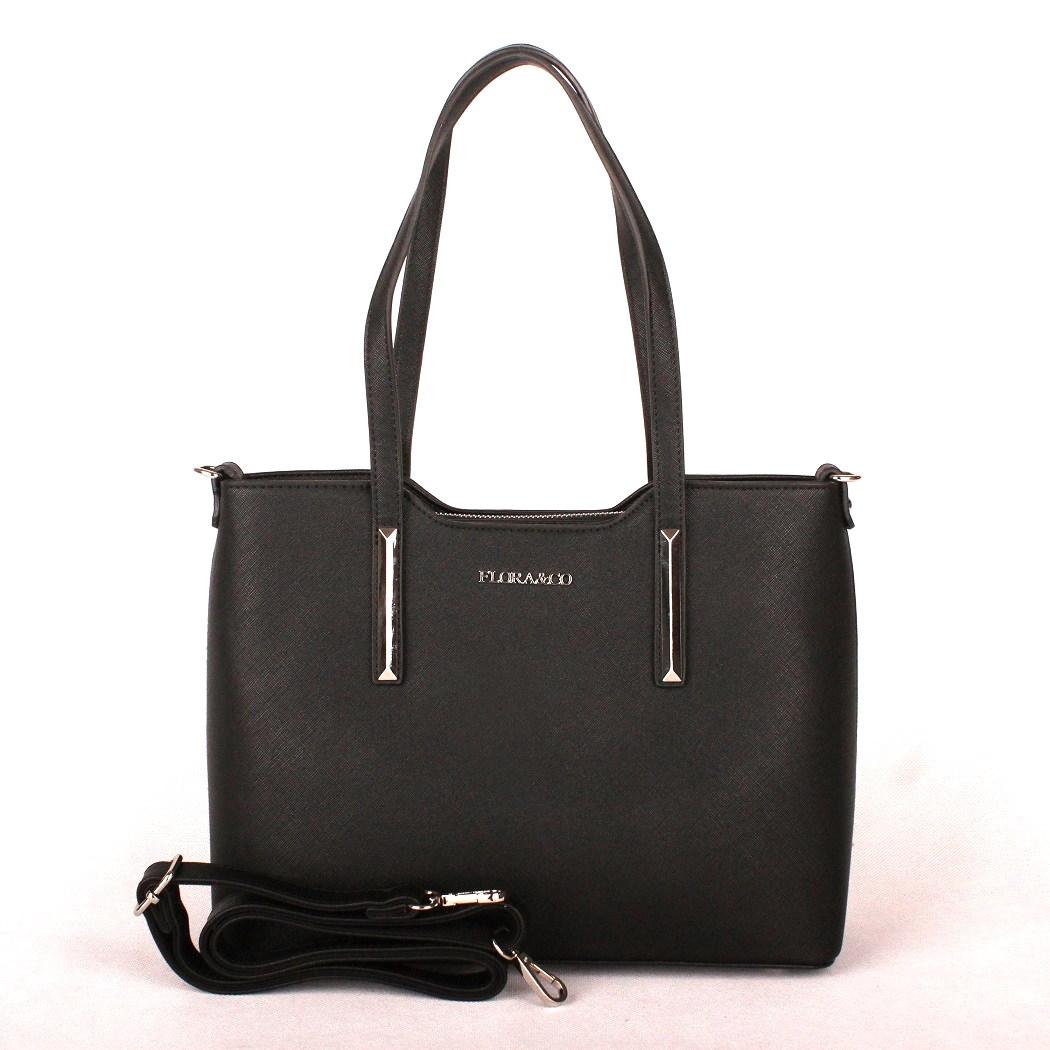 Elegantní kabelka do ruky i na rameno FLORA&CO F5983 černá