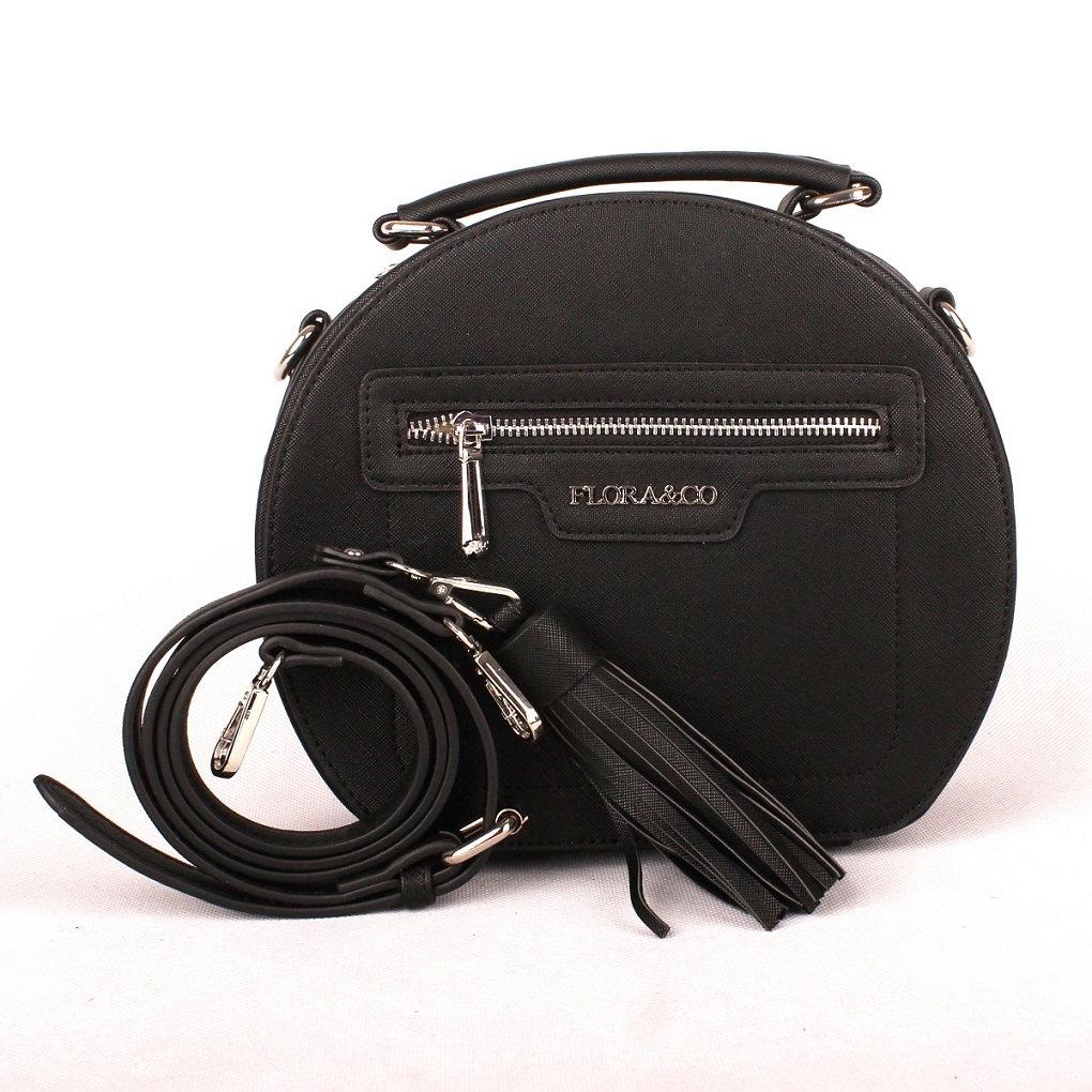 Dámská oblá kabelka FLORA&CO F6335 černá | KabelkyproVas.cz