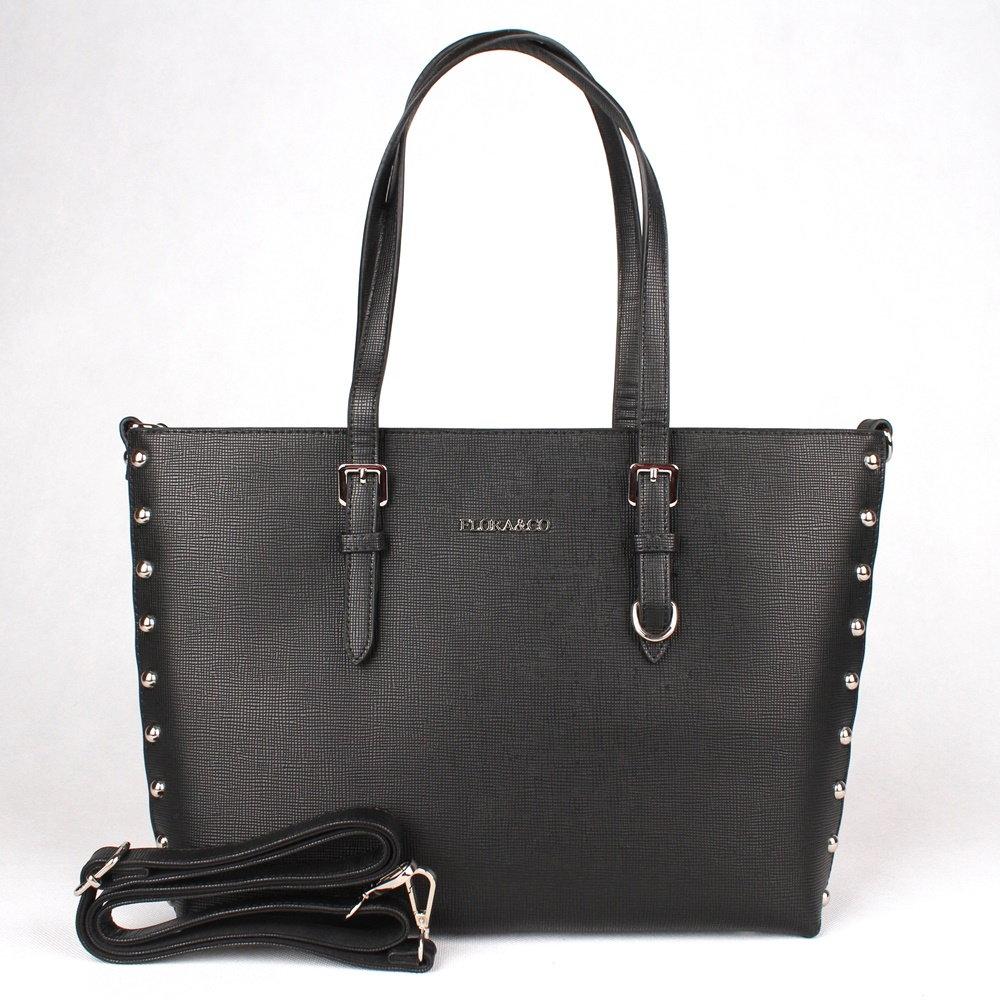 Dámská elegantní pevná kabelka na rameno FLORA&CO F6389 černá | KabelkyproVas.cz
