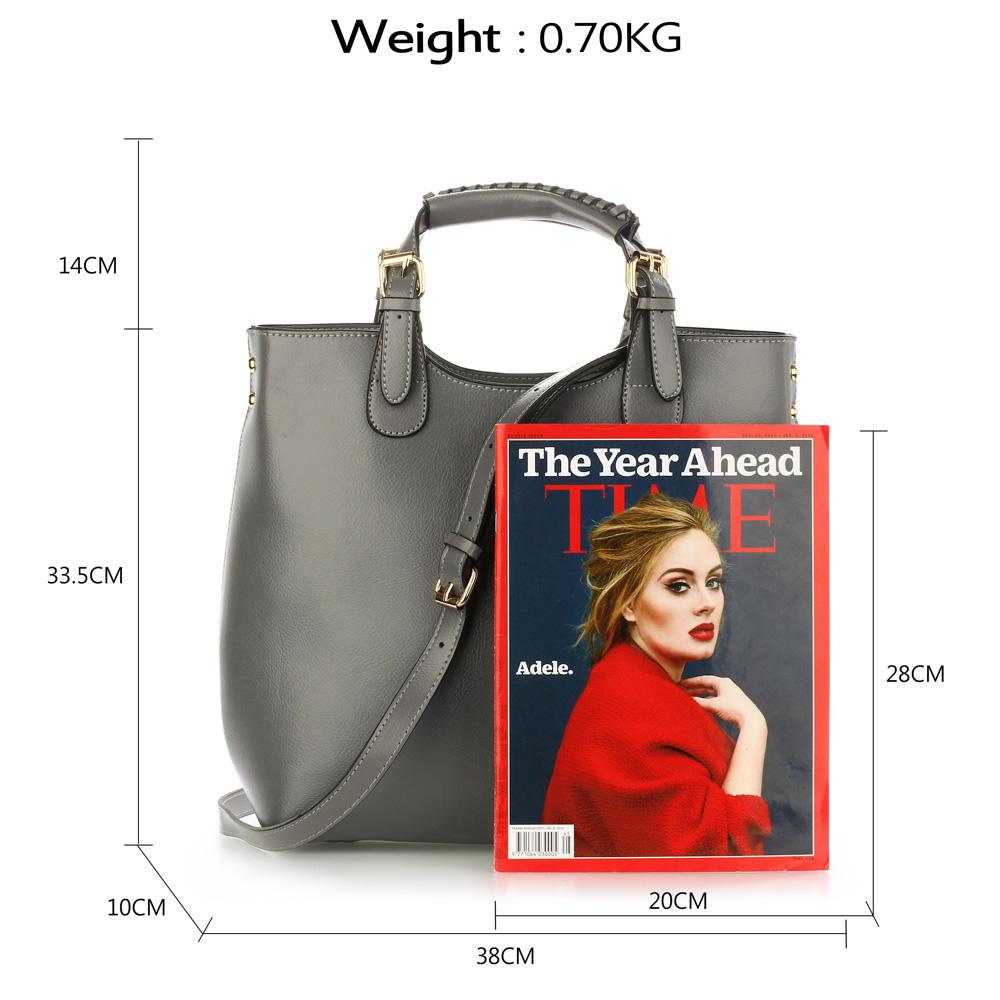 Shopperbag kabelka do ruky LS00267 šedá
