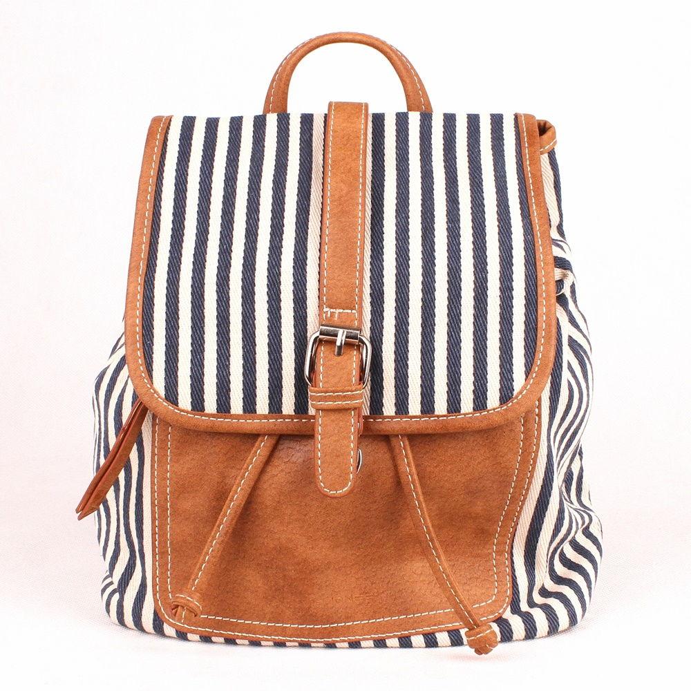 132d4a29bf Malý městský batoh David Jones 5961-2 textilní modro-bílý
