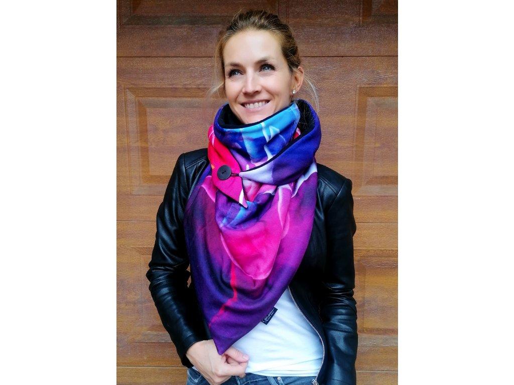 Šátek zimní - Ohňostroj/fialová