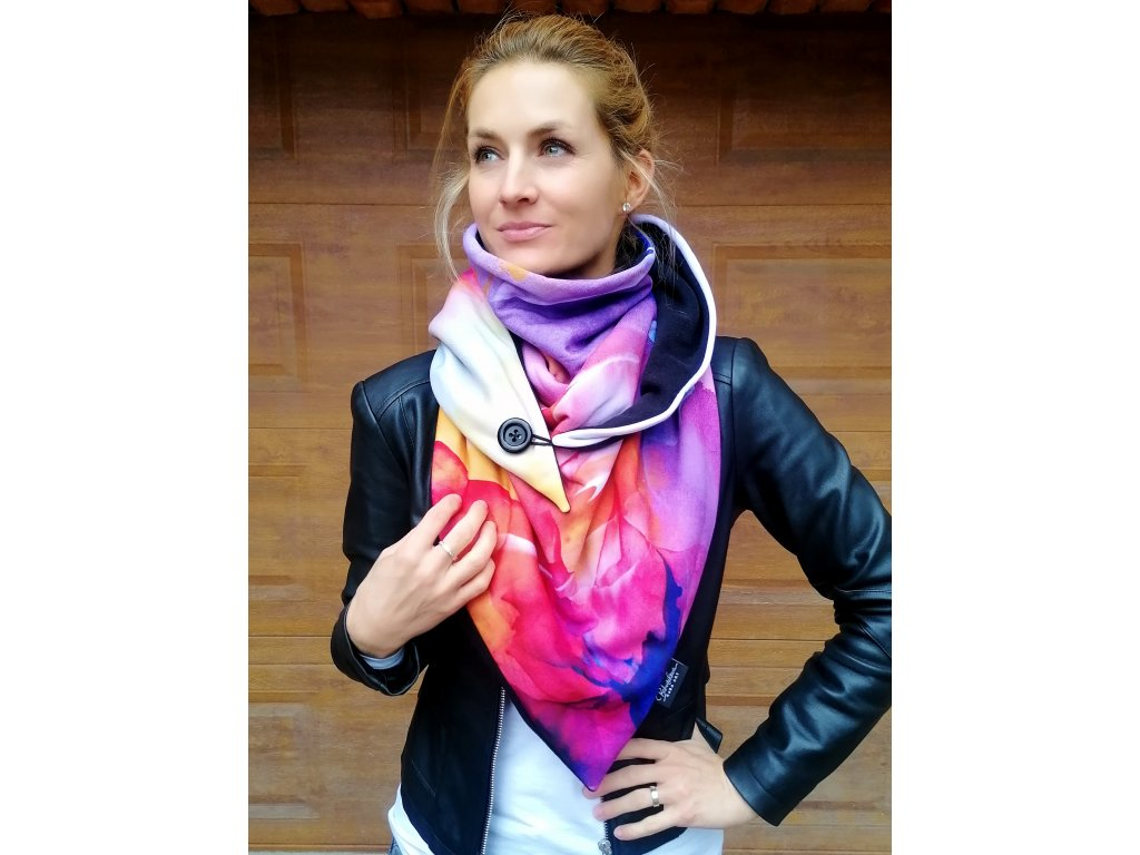 Šátek zimní - Přivoň si/fialová