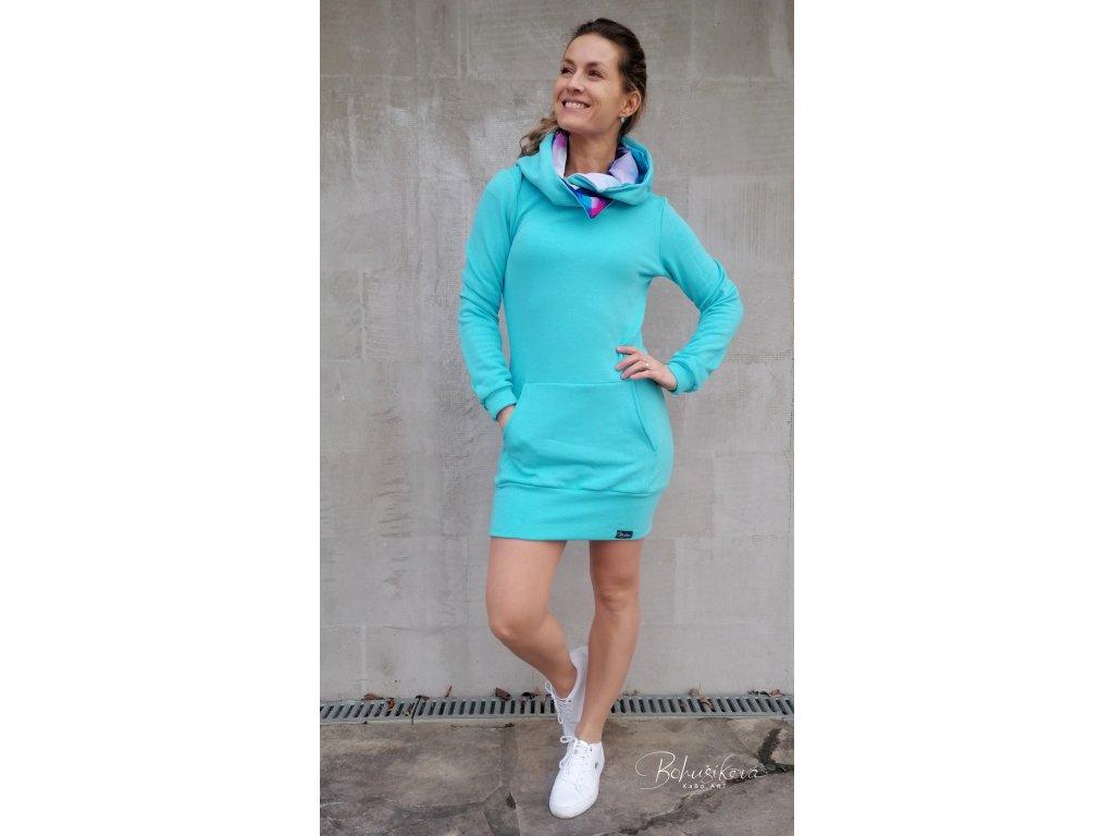 Šatová mikina - bl. modrá