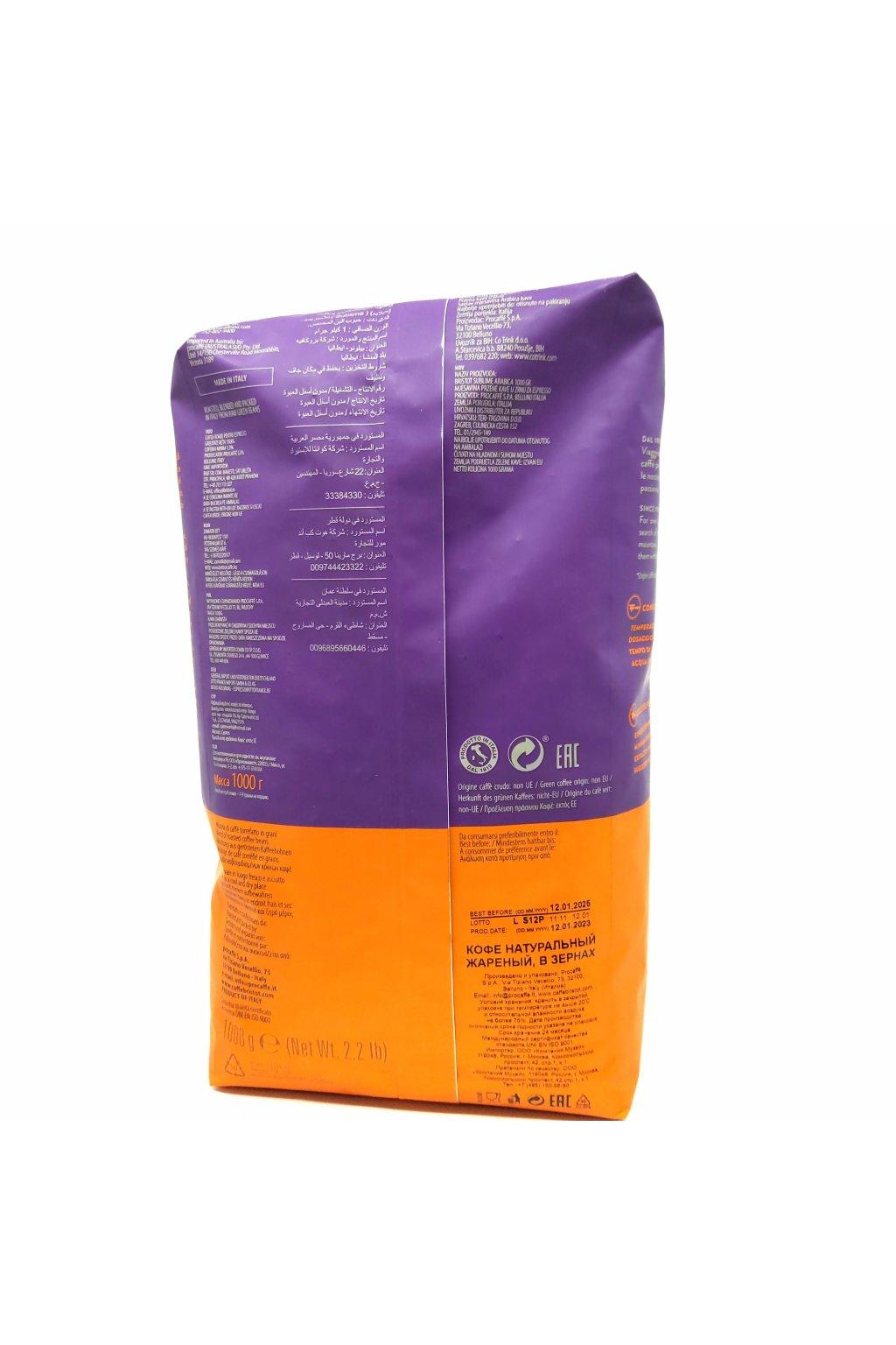 567 bristot sublime 100 arabica zrnkova kava 1 kg