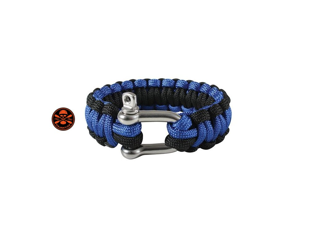 Náramek SURVIVAL PARACORD modro-černý D-Shackle