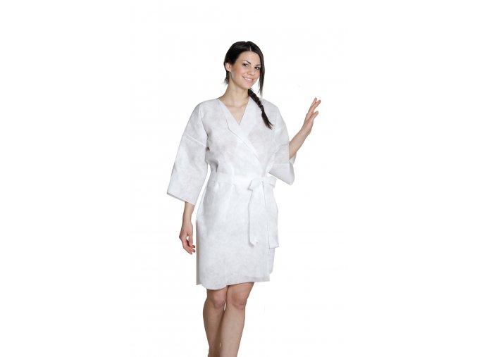 Kimono jednorázové LUX bílé z netkané textilie 5 ks