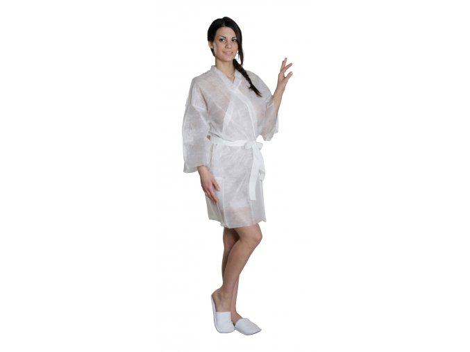 Kimono jednorázové SPA bílé z netkané textilie 5 ks