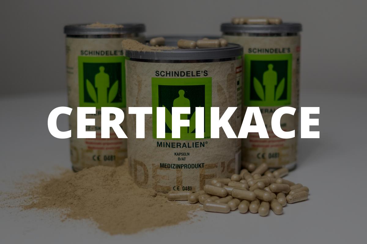 Schindeleho minerály jsou certifikovány jako zdravotnický prostředek