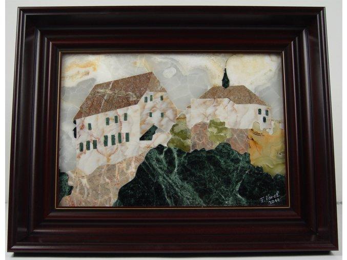 Kamenná intarzie - obraz hradu Točník