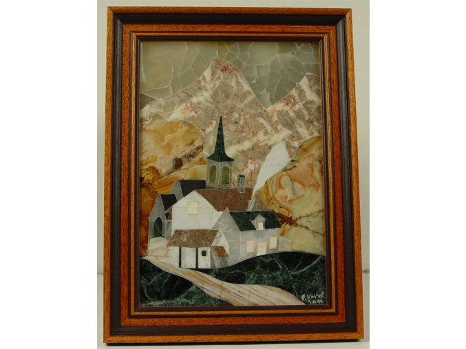 Kamenná intarzie - obraz Alpská vesnička