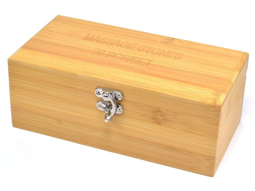 Bambusová krabička - sada 20 ks masážních lávových kamenů