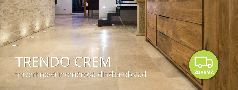 dlažba z kamene do interiéru akce - travertin Trendo Crem