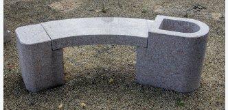 lavička z kamene žula růžová šedá