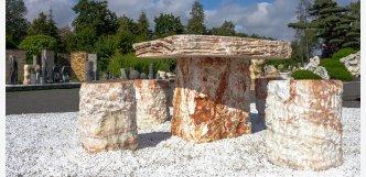 stůl a židle z kamene set