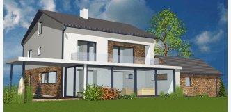 grafický návrh 3D fasády a domu z kamene