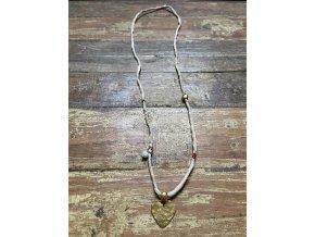 Náhrdelník z hedvábné šňůrky se zlaceným srdcem Ag925