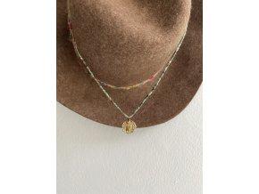 Náhrdelník z afrického tyrkysu se zlaceným medailonem AG925