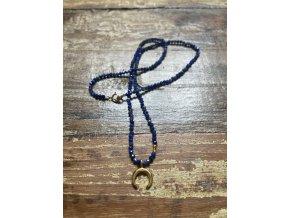 Řetízek lapis lazuli se zlaceným půlměsícem AG925