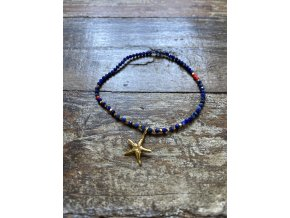Náramek z kamene lapis lazuli se zlacenou hvězdicí Ag925