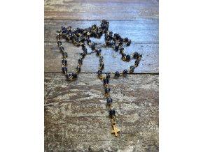 Dlouhý růženec z Iolitu se zlaceným křížkem Ag925