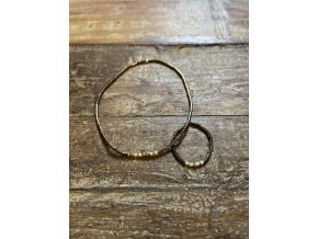 Set náramku a prstýnku z japonských rokajlů se zlacenými fazetami (Ag925)