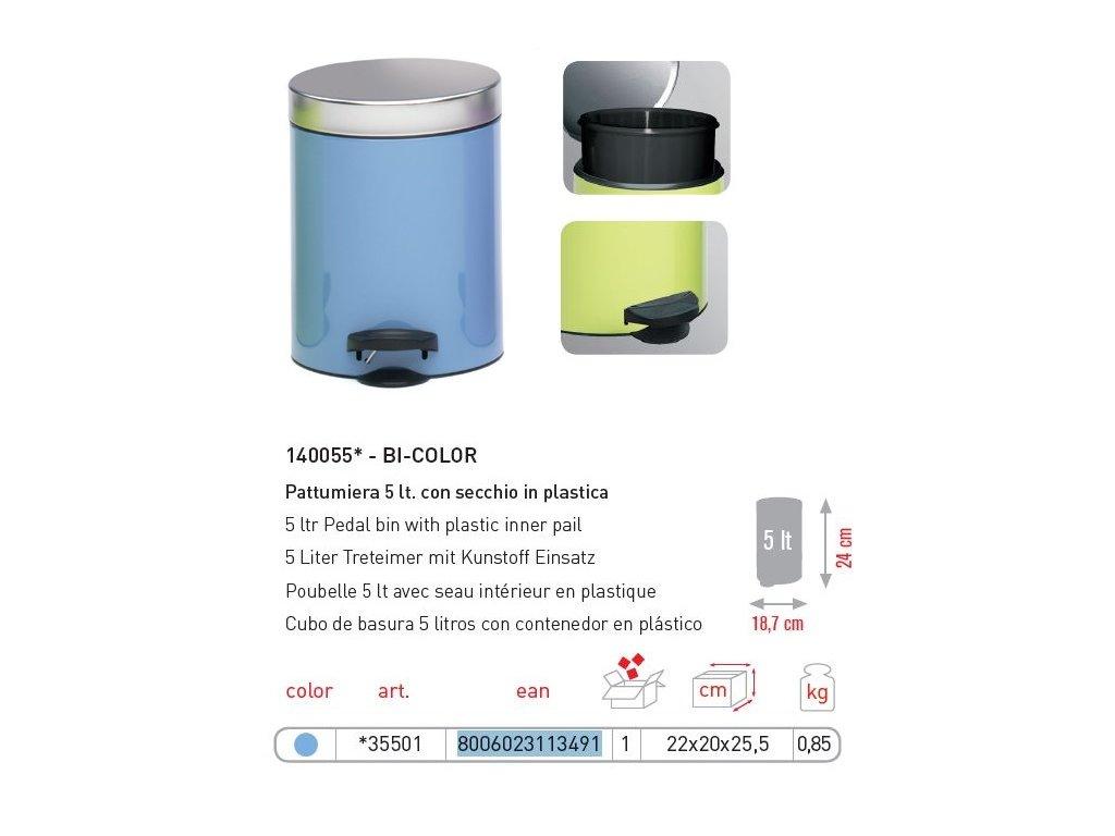 MELICONY KOŠ PEDÁLOVÝ 5 L light blue